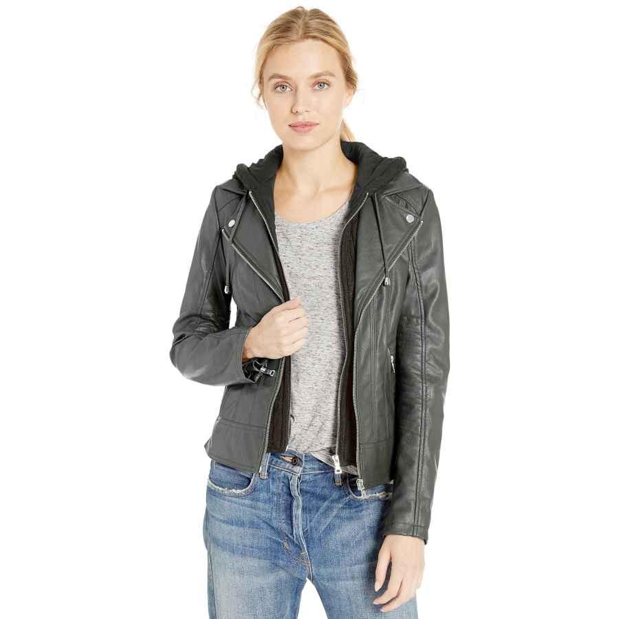 Guess Women's Faux Leather Zip Front Scuba Jacket