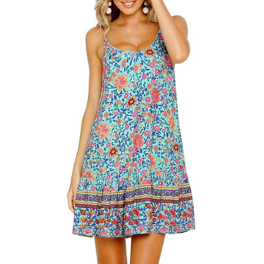 Womens Casual Dresses Shibever Women's Summer Sexy Floral Printed Dress Adjustable Spaghetti Strap Mini Beach Casual Ruffle Swing Boho Sundress
