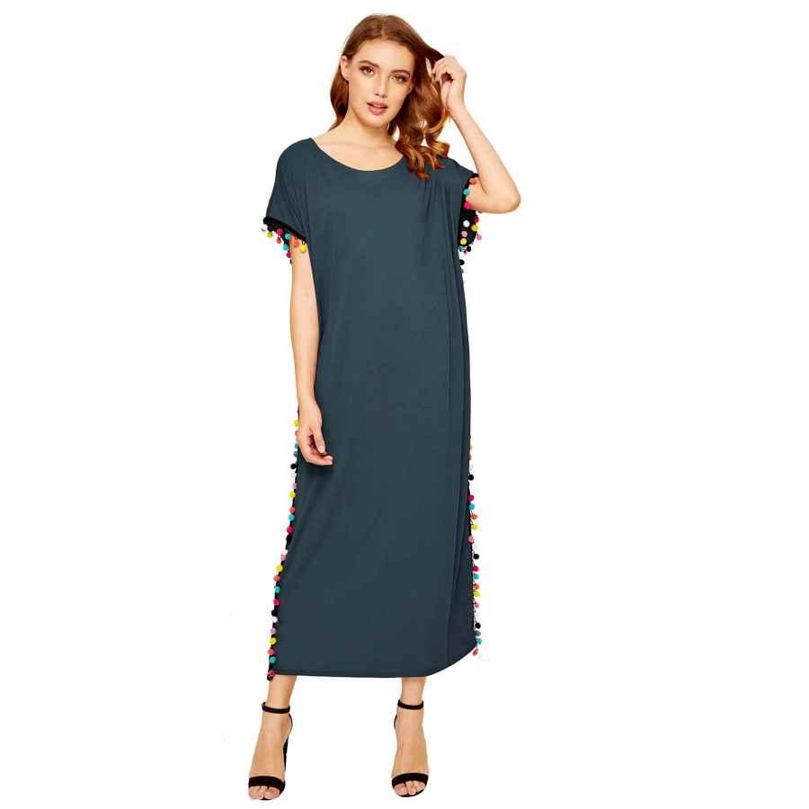 Womens Casual Dresses Floerns Women's Pom Pom Trim O Neck Casual Loose Maxi Kaftan Dress