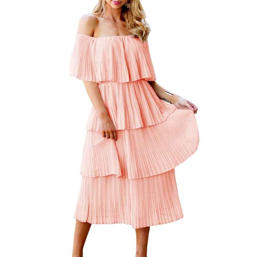 Womens Casual Dresses Etcyy Women's Off The Shoulder Ruffles Summer Loose Casual Chiffon Long Party Beach Maxi Dress