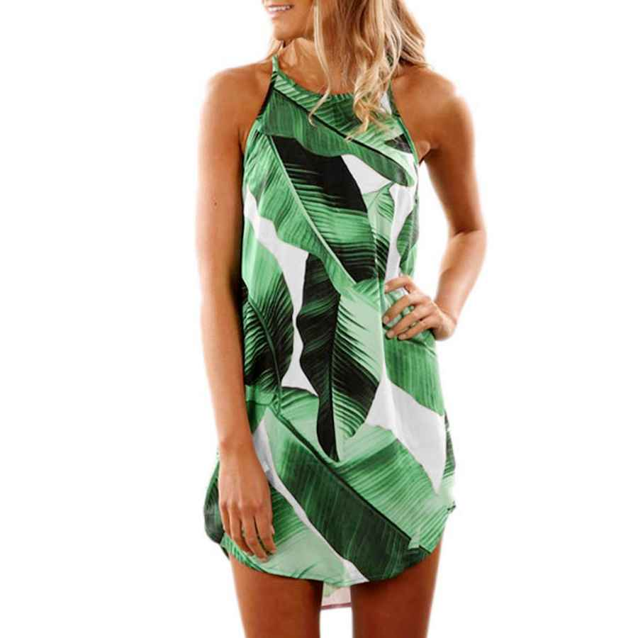 Womens Casual Dresses Asvivid Womens Summer Halter Neck Floral Print Sleeveless Casual Mini Dress