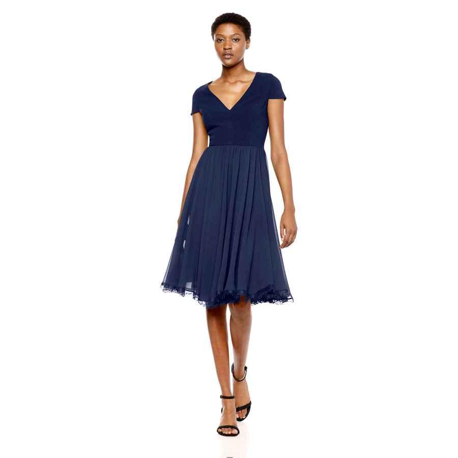 Womens Casual Dresses Dress The Population Women's Corey Plunging Mix Media Cap Sleeve A-Line Midi Dress