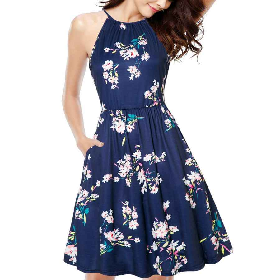 Womens Casual Dresses Kilig Women's Halter Neck Floral Summer Dress Casual Sundress With Pockets