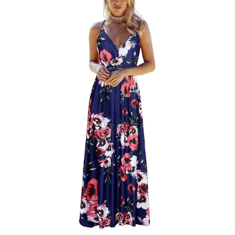 Womens Casual Dresses Ouges Womens Summer Deep V Neck Floral Adjustable Spaghetti Strap Beach Maxi Dress