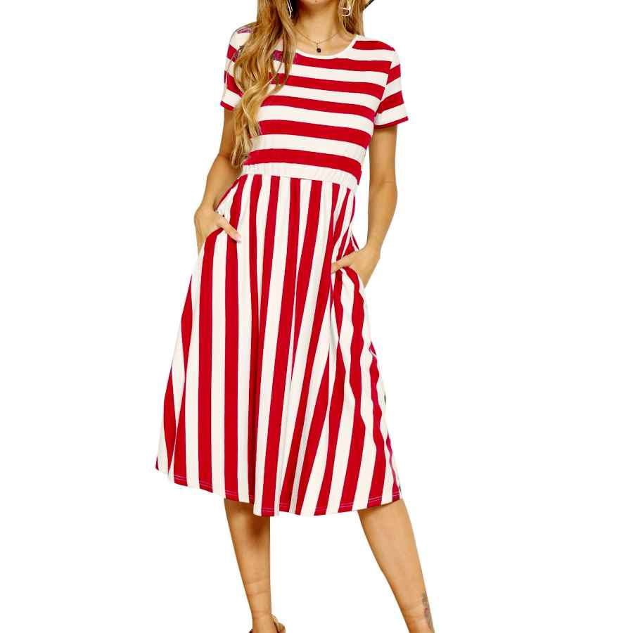 Womens Casual Dresses Levaca Women's Casual Short Sleeve Striped Swing Midi Dress With Pockets