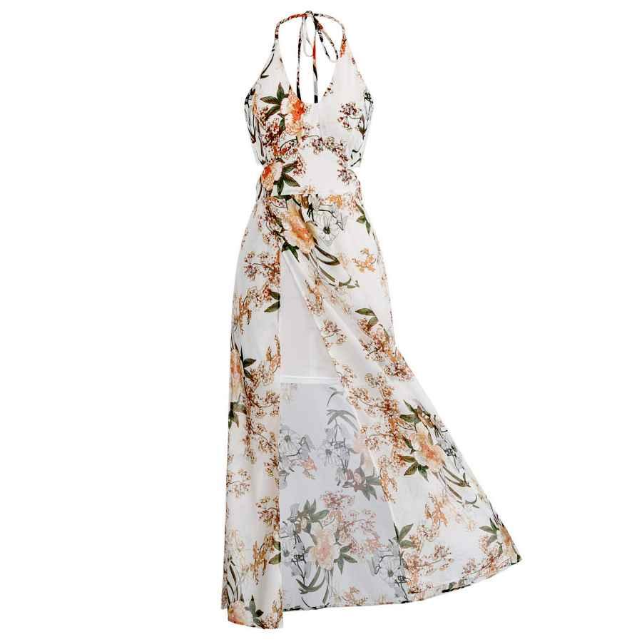 Womens Casual Dresses Jasambac Women's Casual Halter Maxi Dress Split Floral Summer Beach Sundress