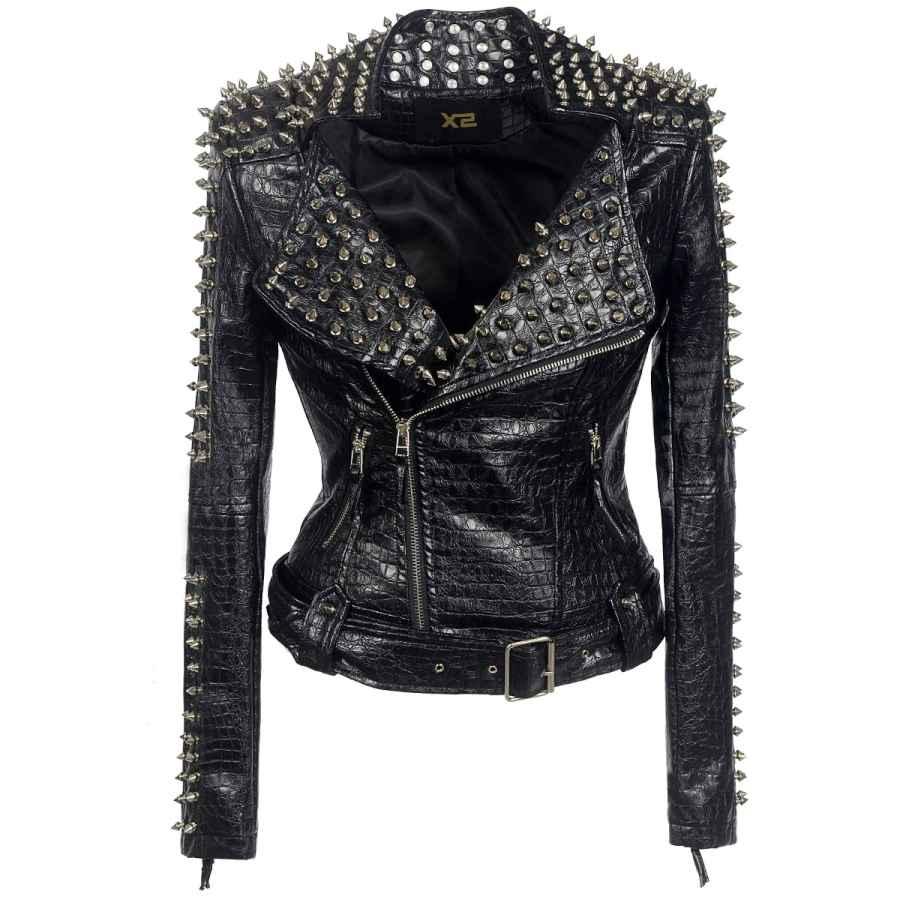 Sx Women Punk Faux Leather Pu Black Jacket Studded Rivet Fashion Streetwear Motorcycle Coat