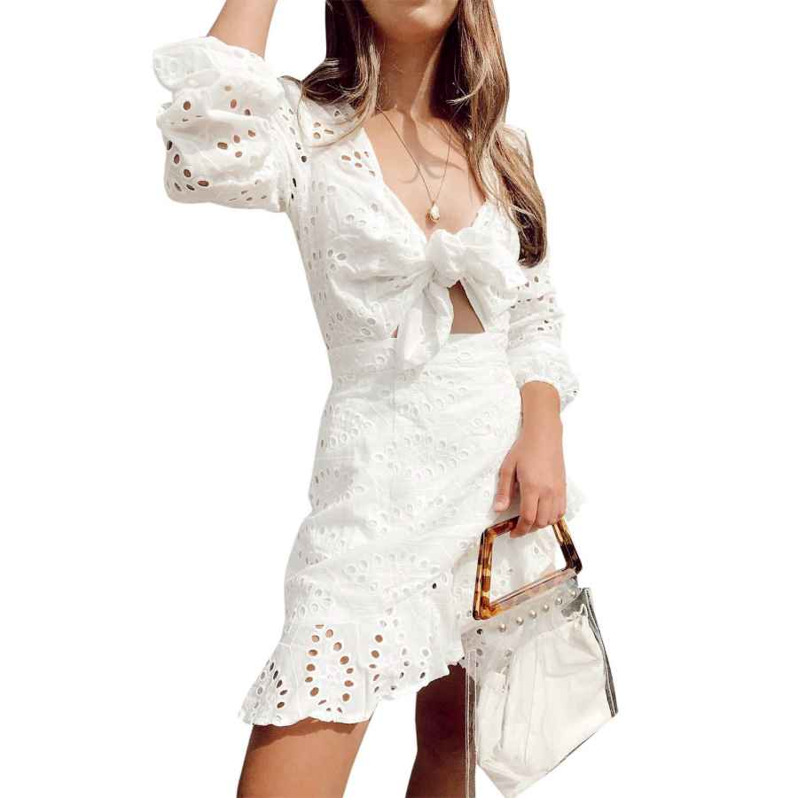 Womens Casual Dresses Conmoto Women's Sexy Long Sleeve Lace Ruffle Mini Dress Hollow Out Summer Dress