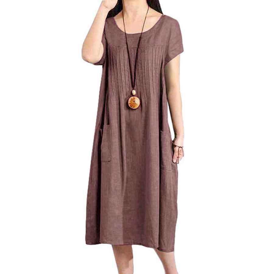 Womens Casual Dresses Buykud Women Cotton Linen Loose Fitting Dress