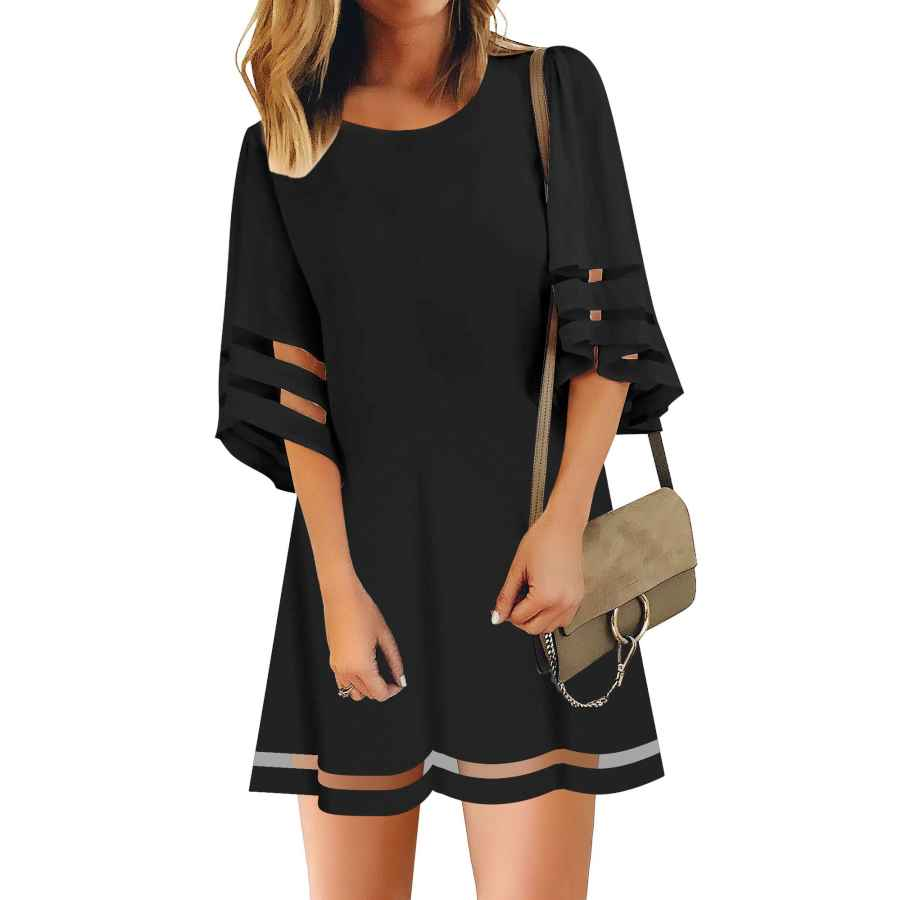Womens Casual Dresses Lookbookstore Women Casual Crewneck Mesh Panel 3/4 Bell Sleeve Loose Tunic Dress