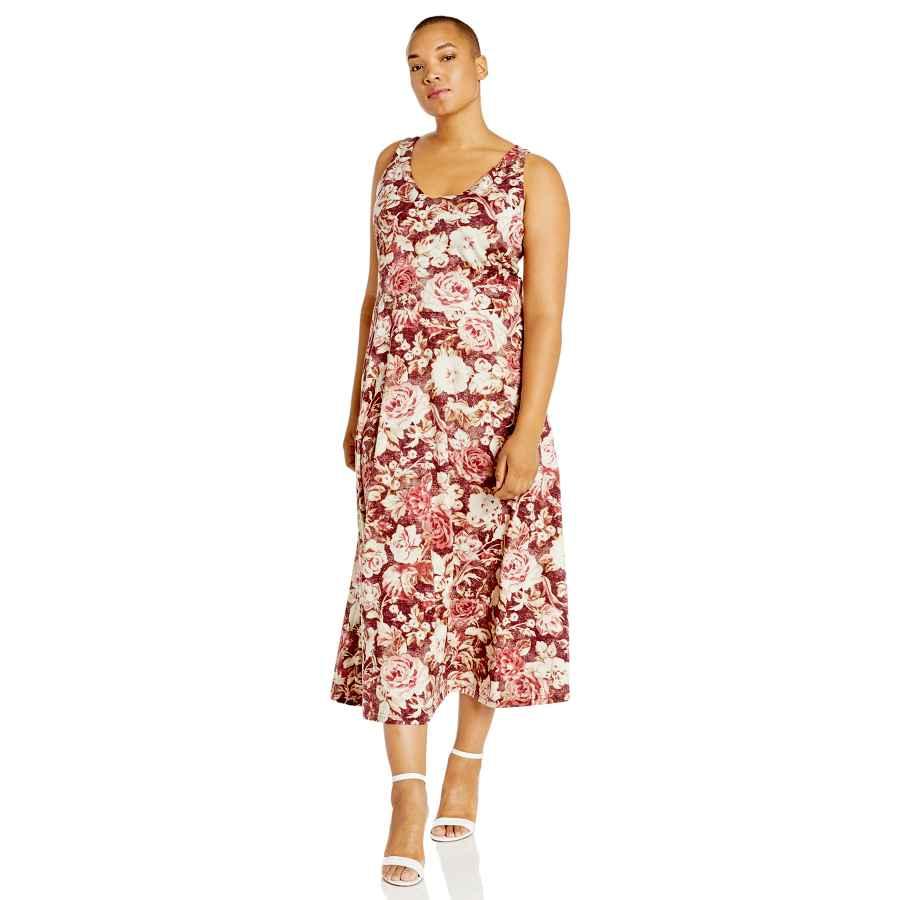 Womens Casual Dresses Chaps Women's Plus Size Sleeveless Floral Cotton Dress