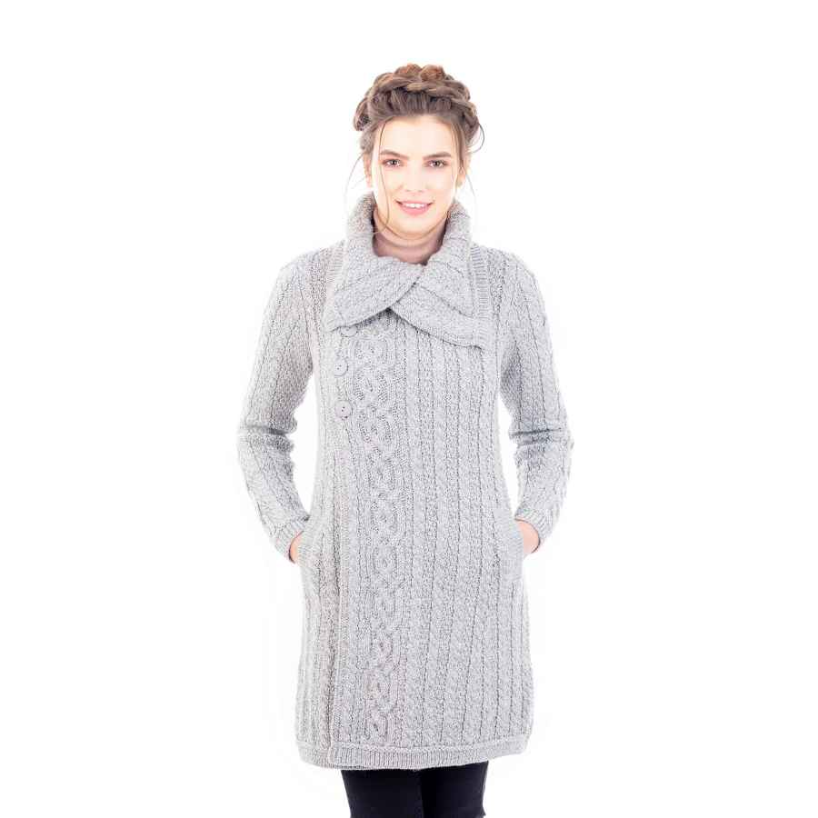 Saol Ladies 3 Buttons Collar Irish Knitted Coat With Side Pockets In Grey/Navy