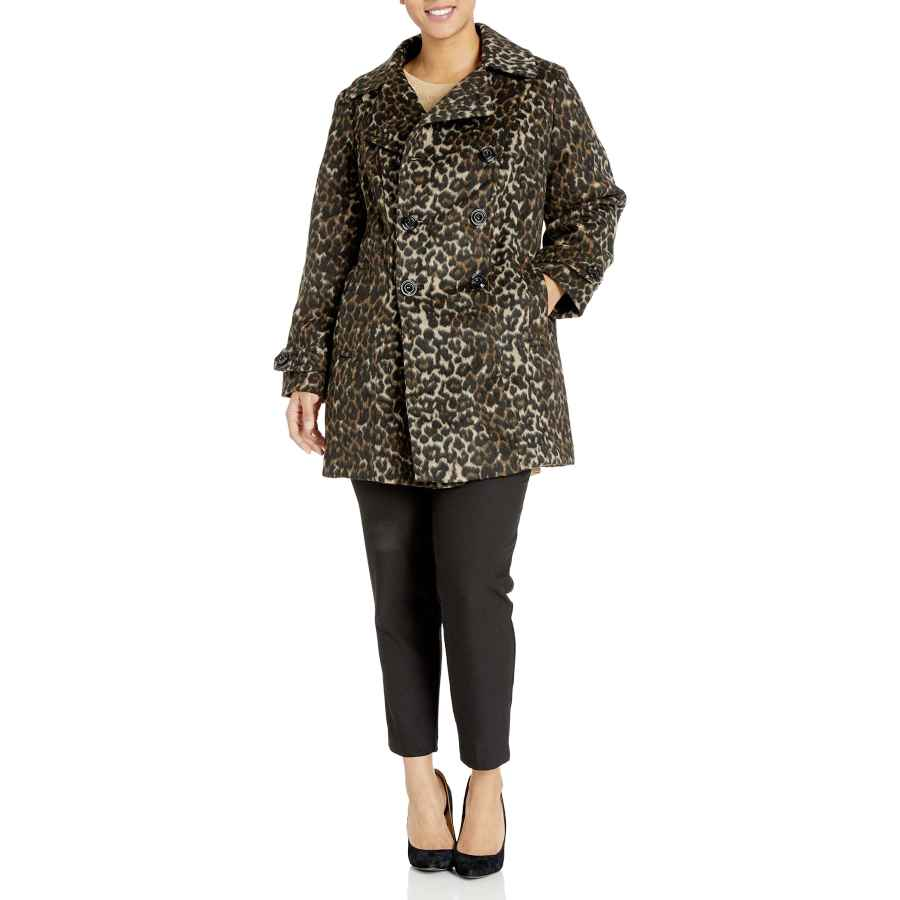 Anne Klein Women's Classic Double Breasted Coat Plus Size