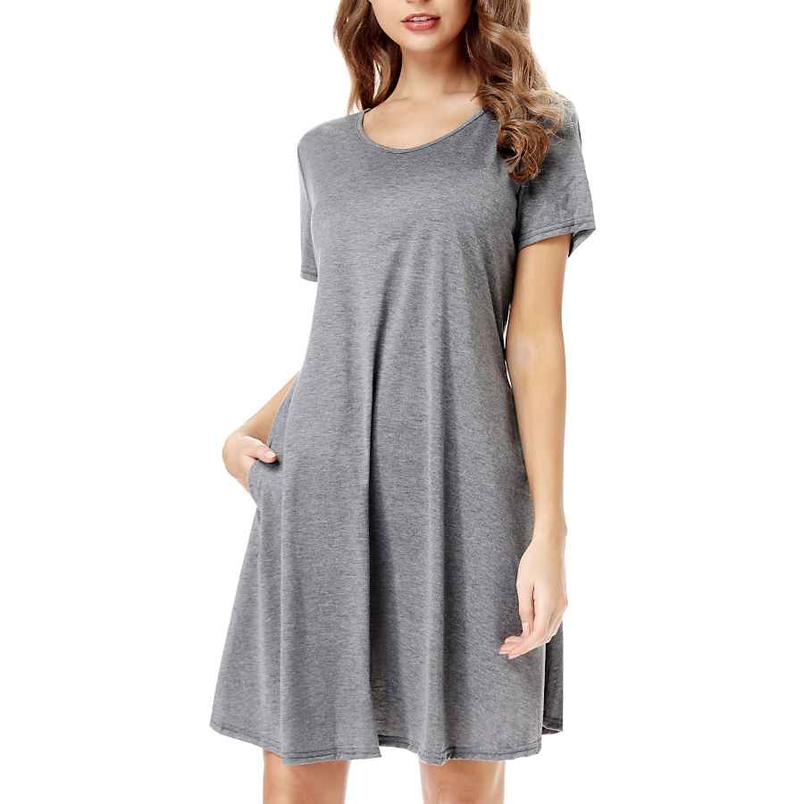 Womens Casual Dresses Cakcton Women's Summer Dress Casual T-Shirt Loose Swing Dress With Pockets Knee Length