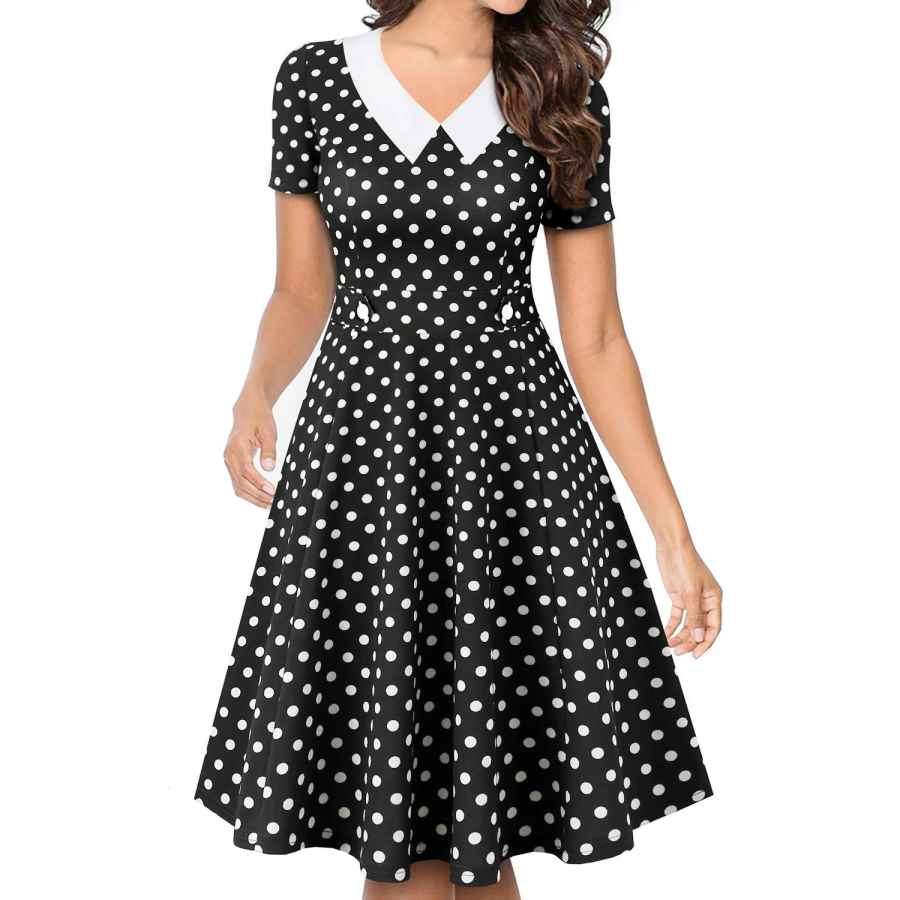Womens Casual Dresses Yathon Women's Vintage Peter Pan Collar Fit And Flare A-Line Swing Work Casual Dresses