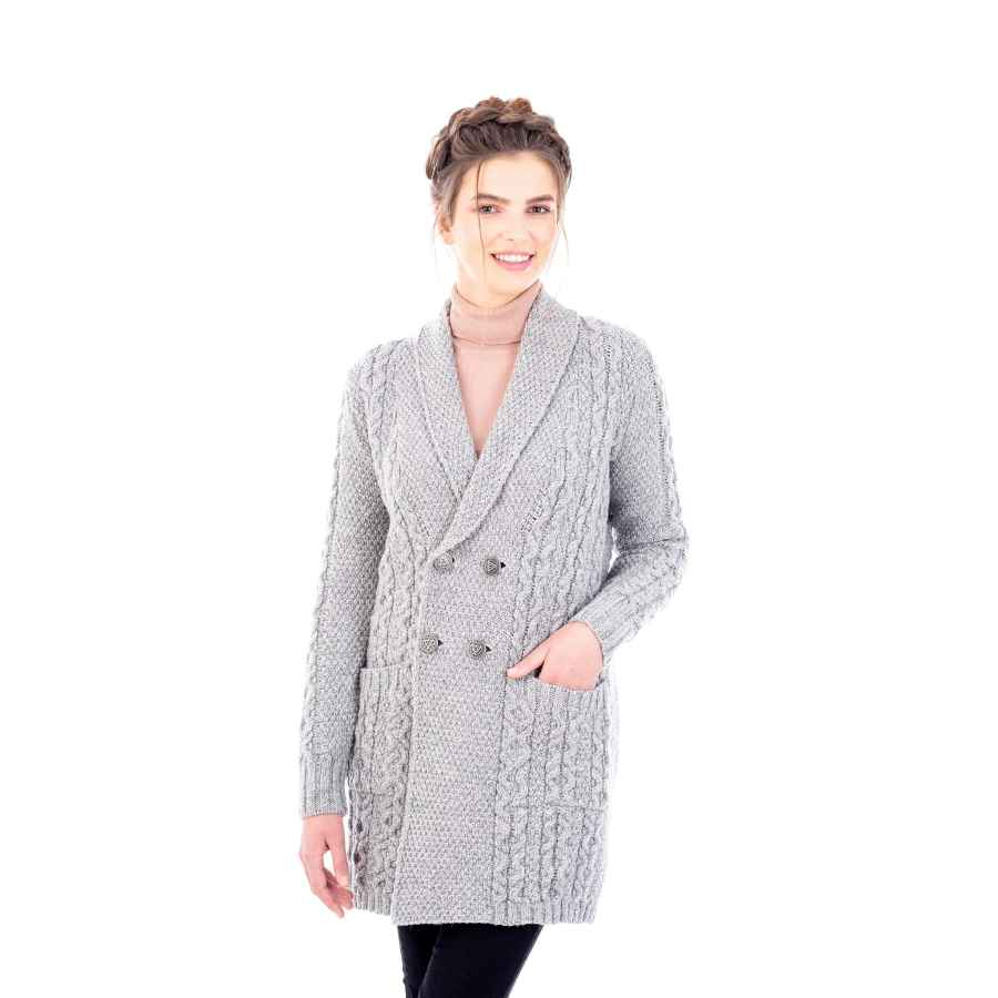 Saol 100% Irish Merino Wool Ladies Shawl Collar Cardigan Coat With Pockets