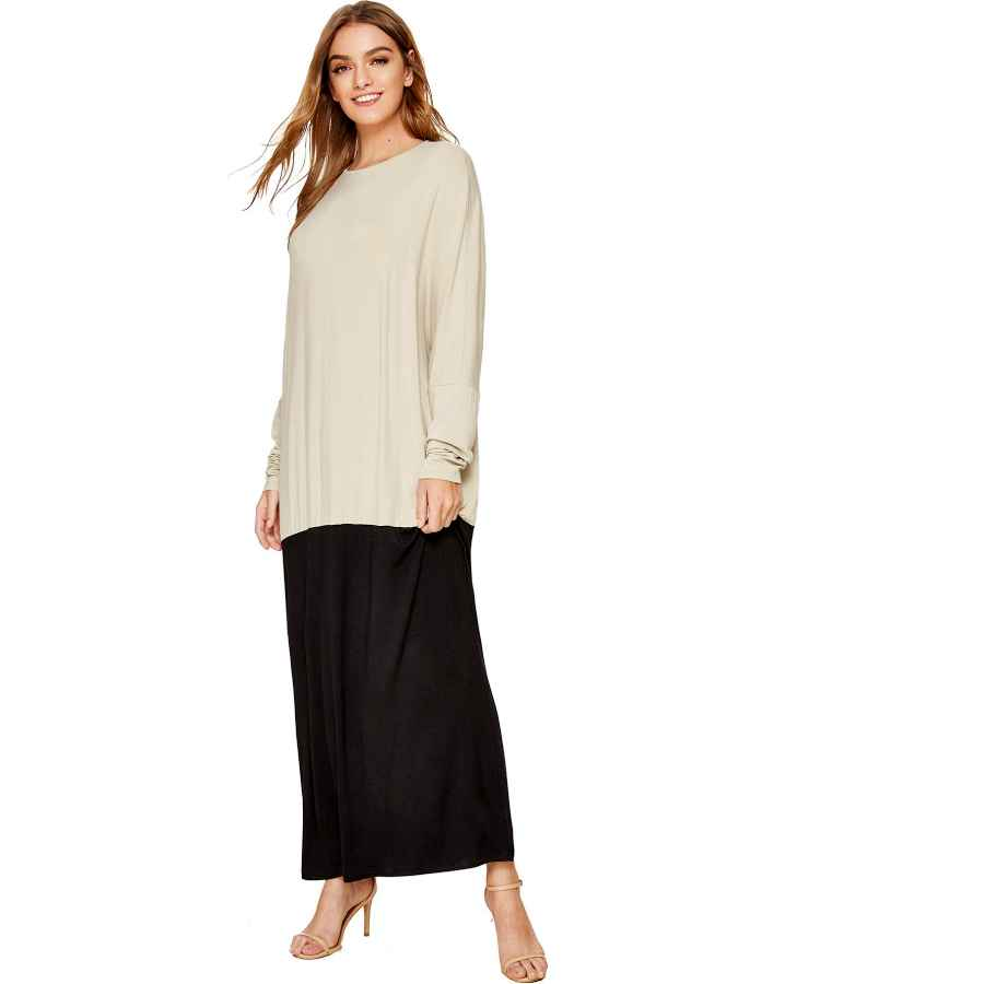 Womens Casual Dresses Verdusa Women's Color Block Batwing Long Sleeve Loose Oversized Maxi Dress