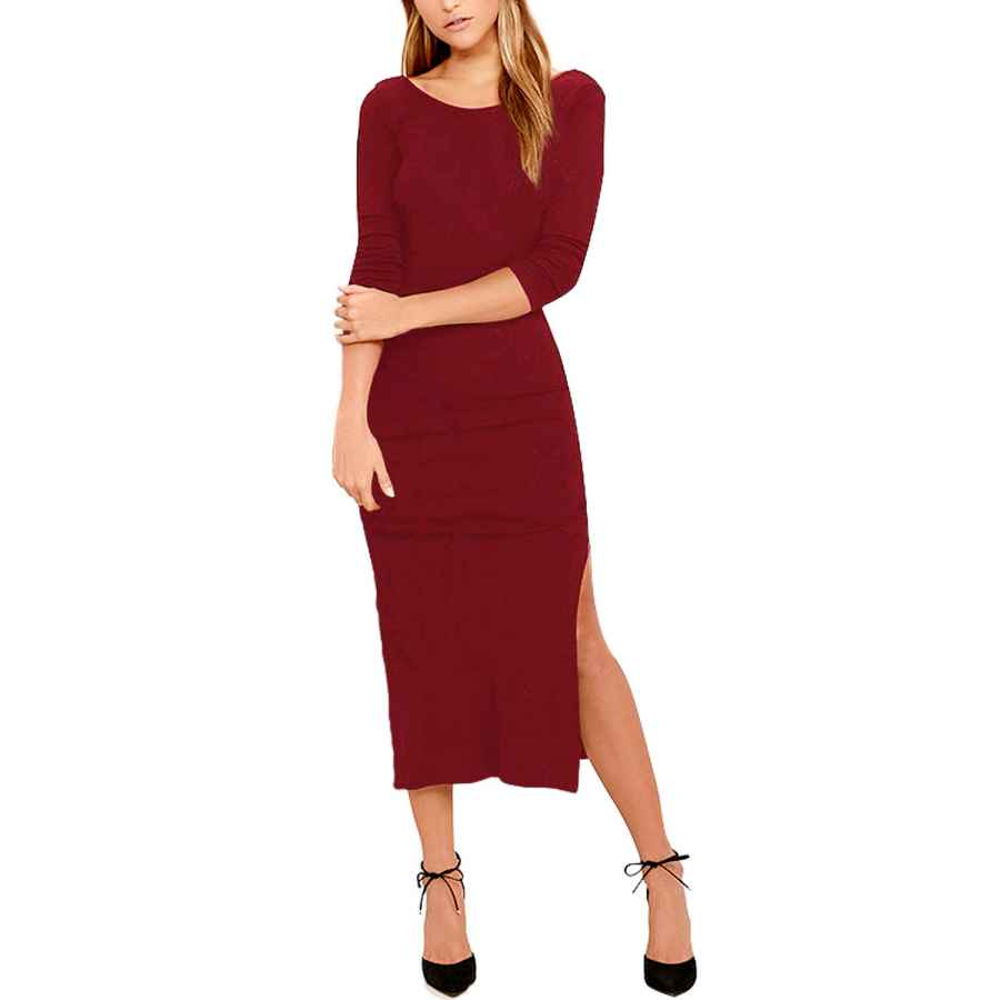 Womens Casual Dresses Meenew Womens 3/4 Sleeve Fitted Midi Dress Sexy Low Back High Slit Bodycon Dress