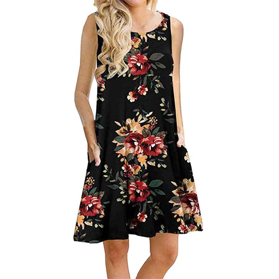 Womens Casual Dresses Andaa Women's Summer Casual Sleeveless Long Tunic Tops Crew Neck Floral Printed Loose T-Shirt Dresses With Pockets