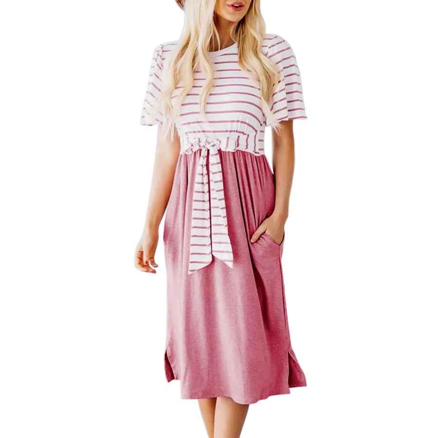 Womens Casual Dresses Merokeety Women's Summer Striped Ruffle Sleeves Tie Waist Pockets Casual Swing Midi Dress