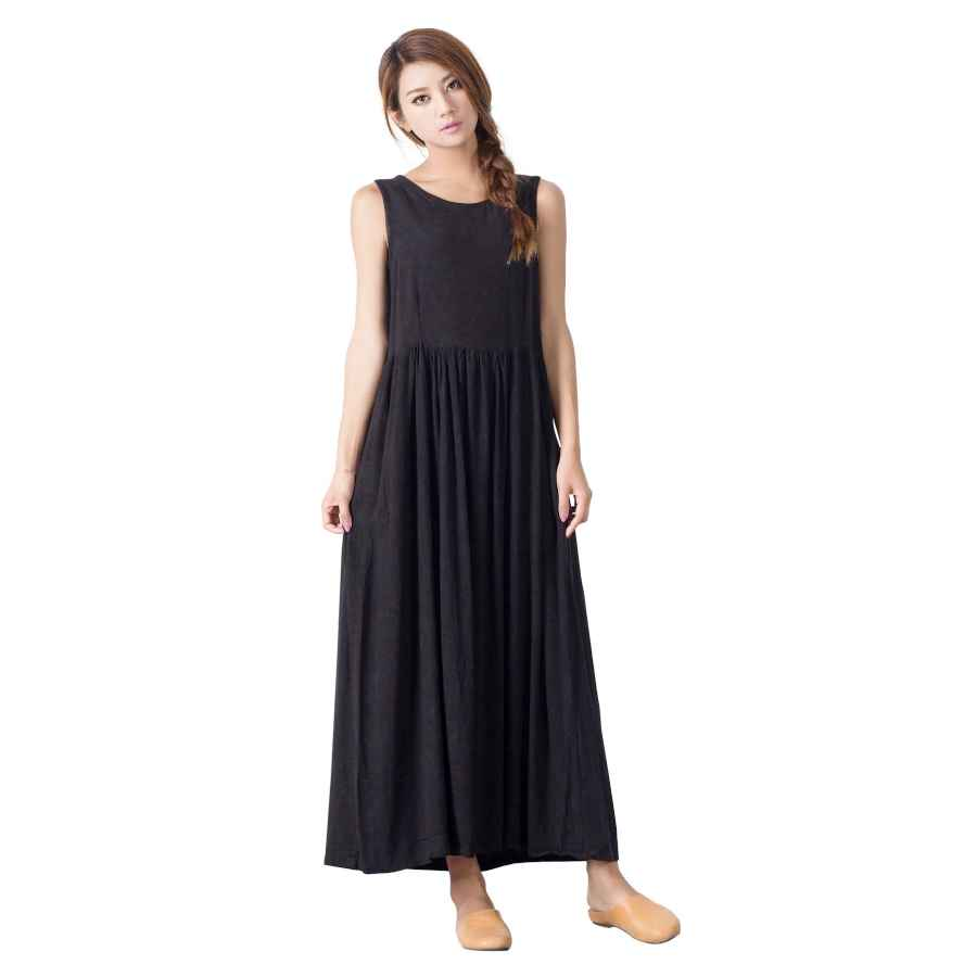Womens Casual Dresses Sellse Women's Cotton Linen Maxi Dress Loose Sleeveless With Pockets