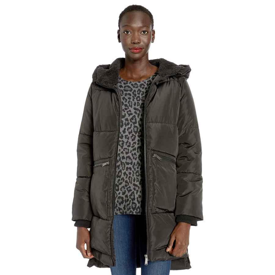 Bcbgeneration Women's Boxed Quilt Zip Front A-Line Puffer Coat