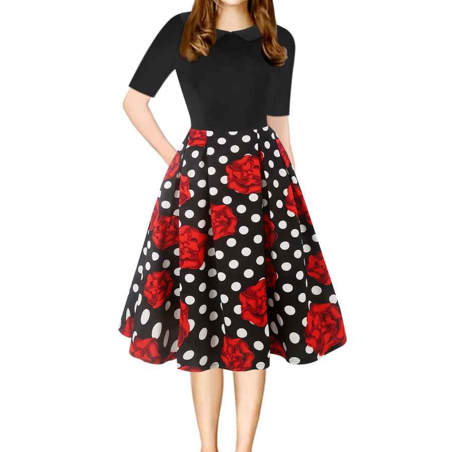 Womens Casual Dresses Oxiuly Women's Vintage Chic Peter Pan Collar Floral Casual Swing Midi Dress With Pockets Ox303