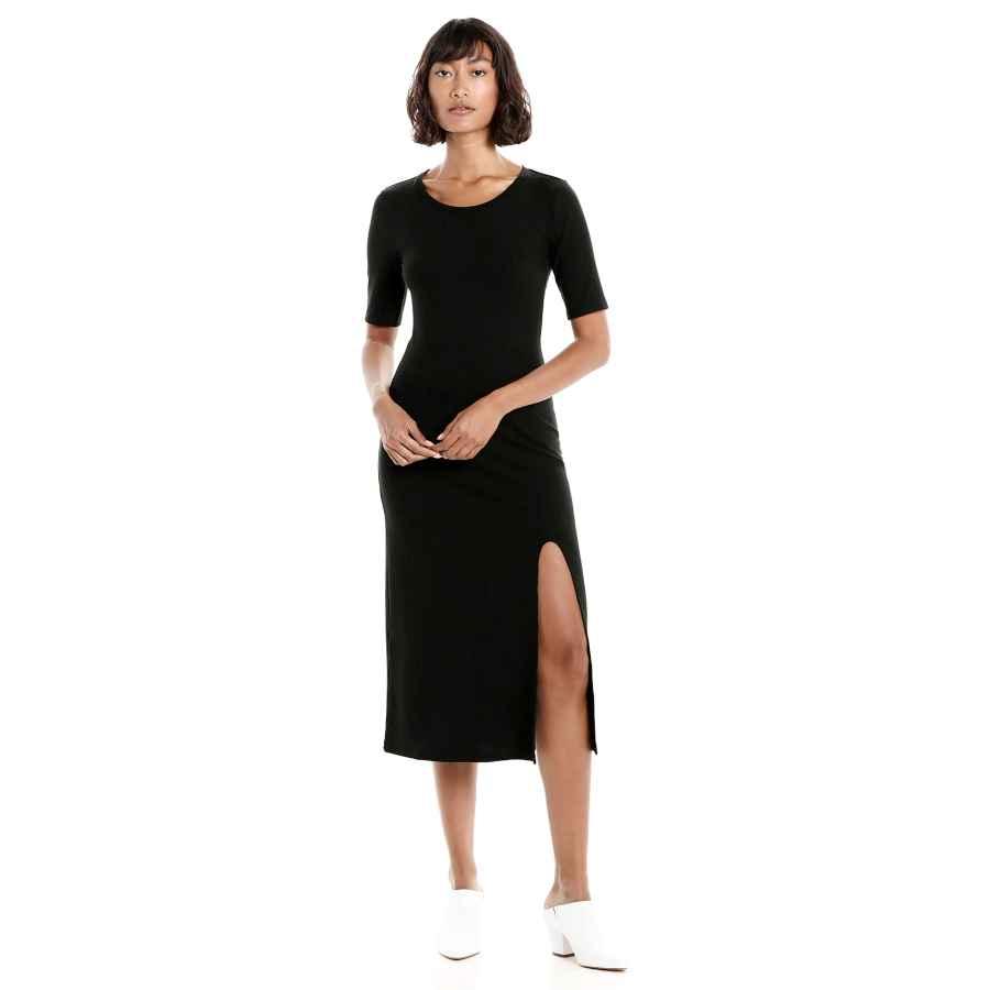 Womens Casual Dresses The Drop Women's Angela Short Sleeve Ribbed Crew Neck Midi Dress