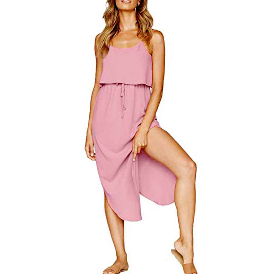 Womens Casual Dresses Vyncs Women's Summer Casual Dresses Adjustable Straps Sleeveless Sundress Split Beach Midi Dress