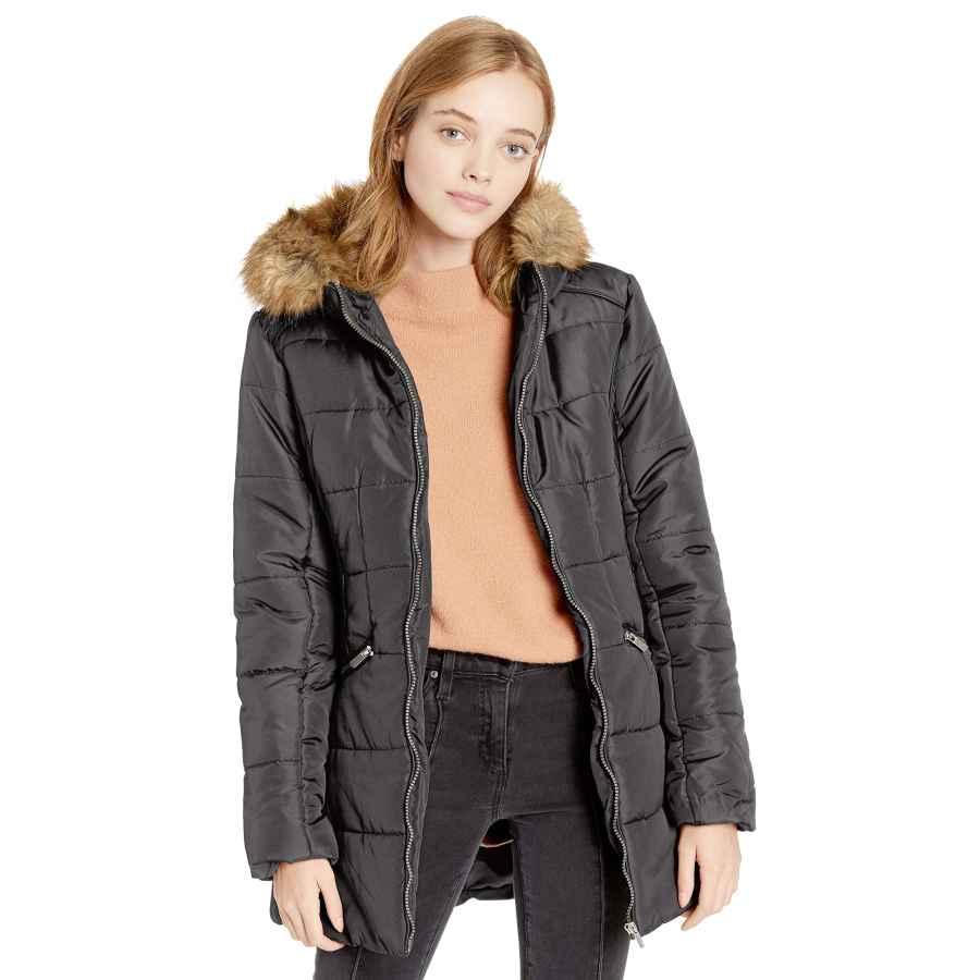 Celebrity Pink Women's Warm Winter Coat With Faux Trimmed Hood