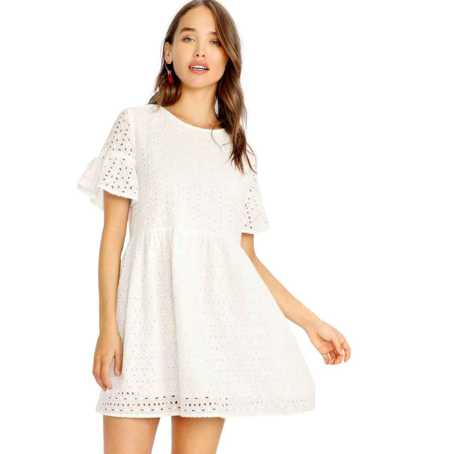 Womens Casual Dresses Floerns Women's Summer Hollow Out Ruffle Sleeve Tunic Babydoll Dress