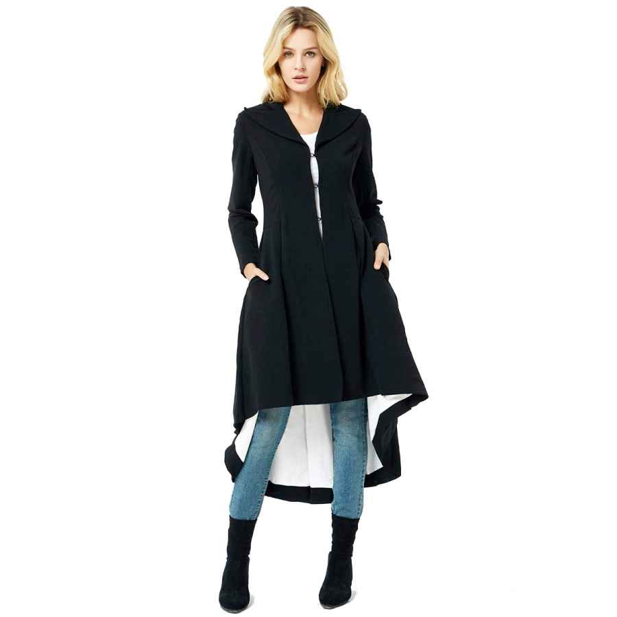 Chartou Women's Winter Oversize Lapel Collar Woolen Plaid Double Breasted Long Peacoat Jacket
