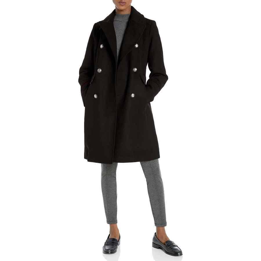 Allegra K Women's Shawl Collar Lapel Winter Belted Coat With Pockets
