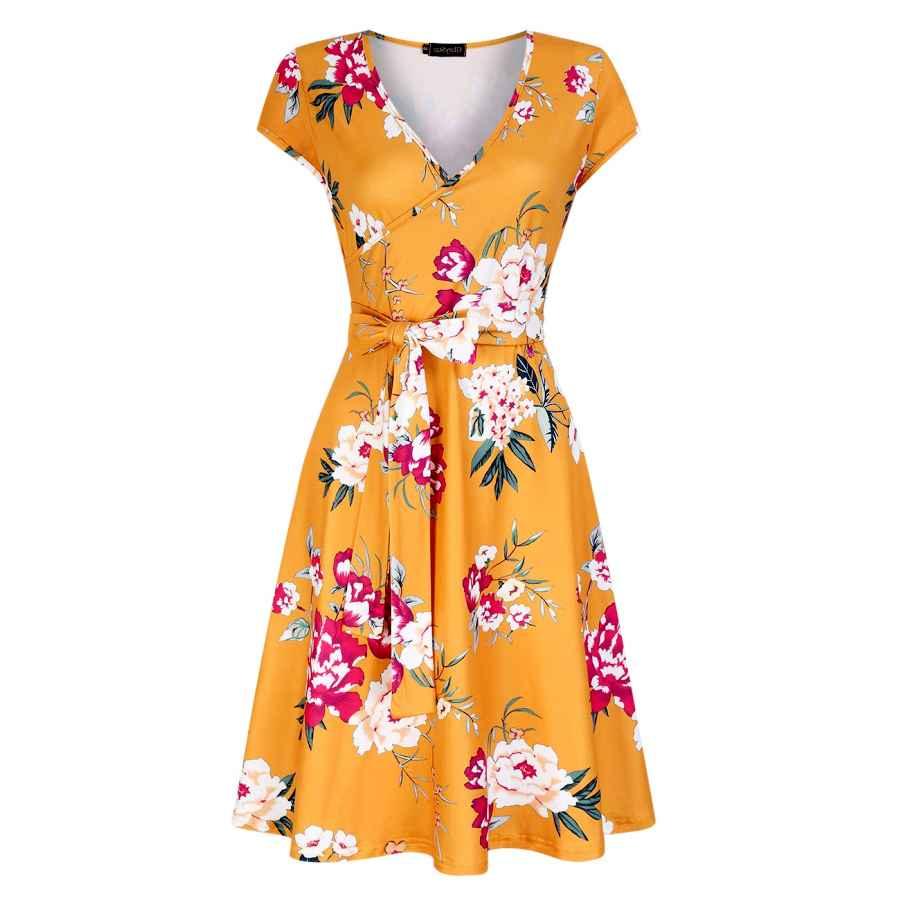 Womens Casual Dresses Glorystar Wrap V Neck Casual A Line Work Business Dress For Women
