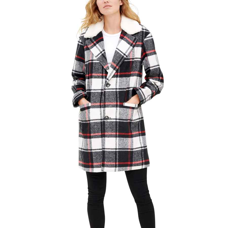 Levi's Women's Wool Plaid Sherpa Collar Top Coat