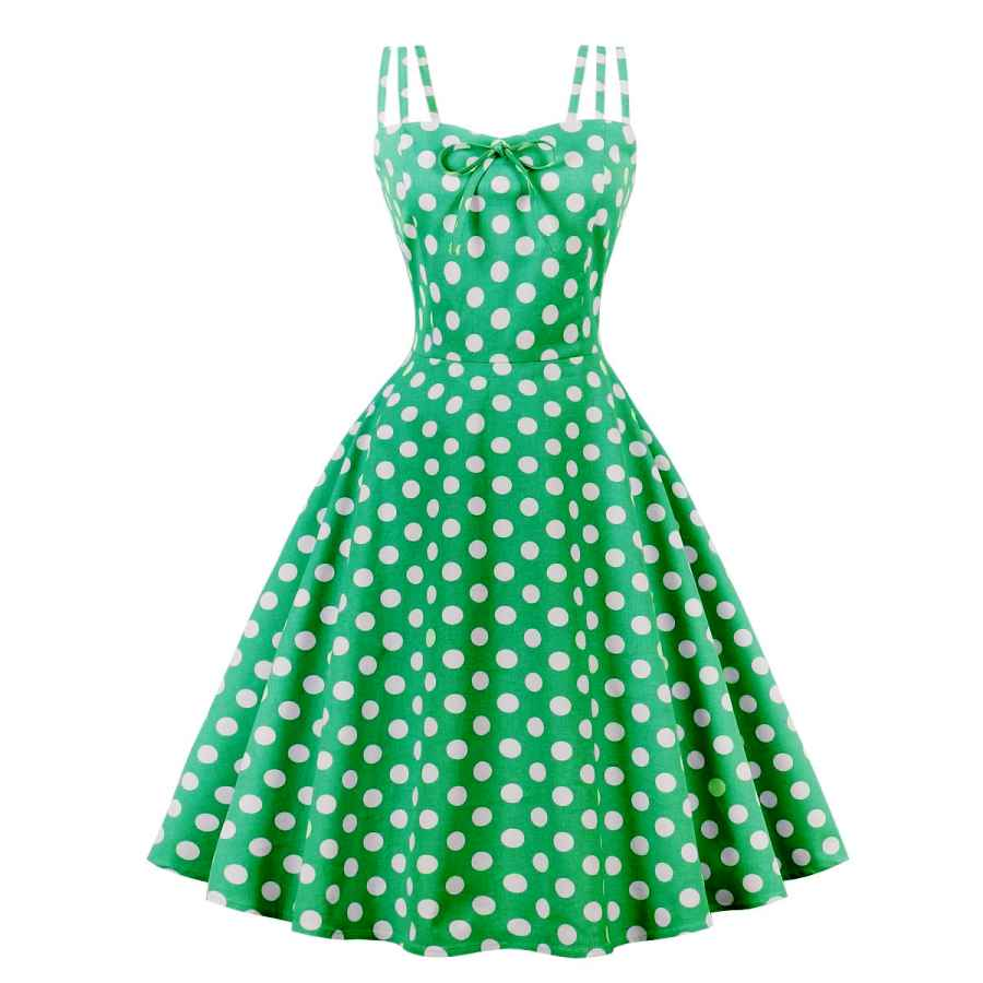 Womens Casual Dresses Wellwits Women's Cami Strap Yellow Polka Dots Tea Party 1950s Vintage Dress