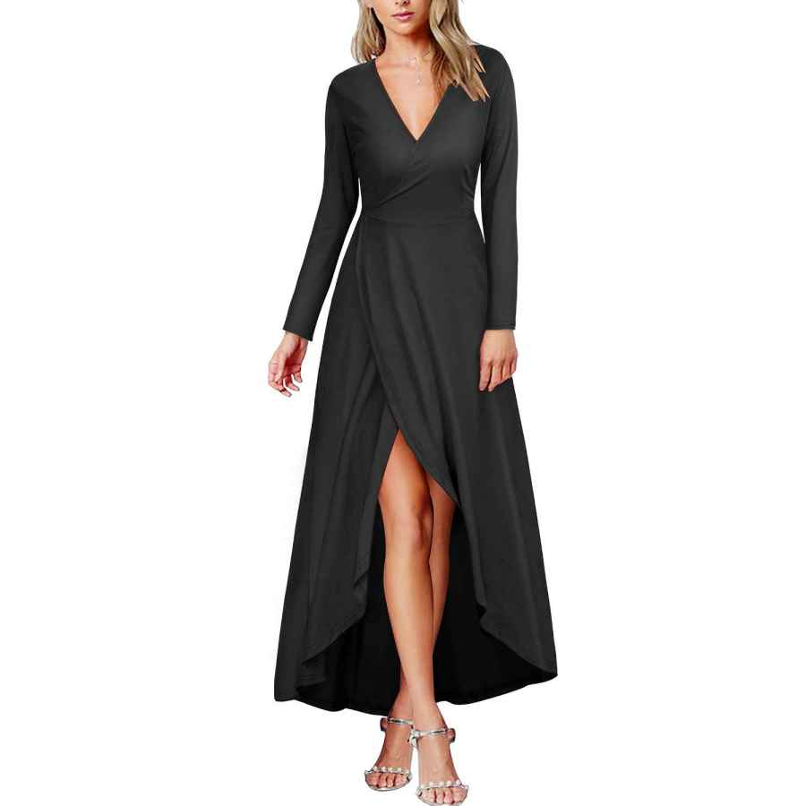 Womens Casual Dresses Kilig Womens V Neck Long Sleeve Fall And Winter Elegant Asymmetrical Casual Maxi Dresses