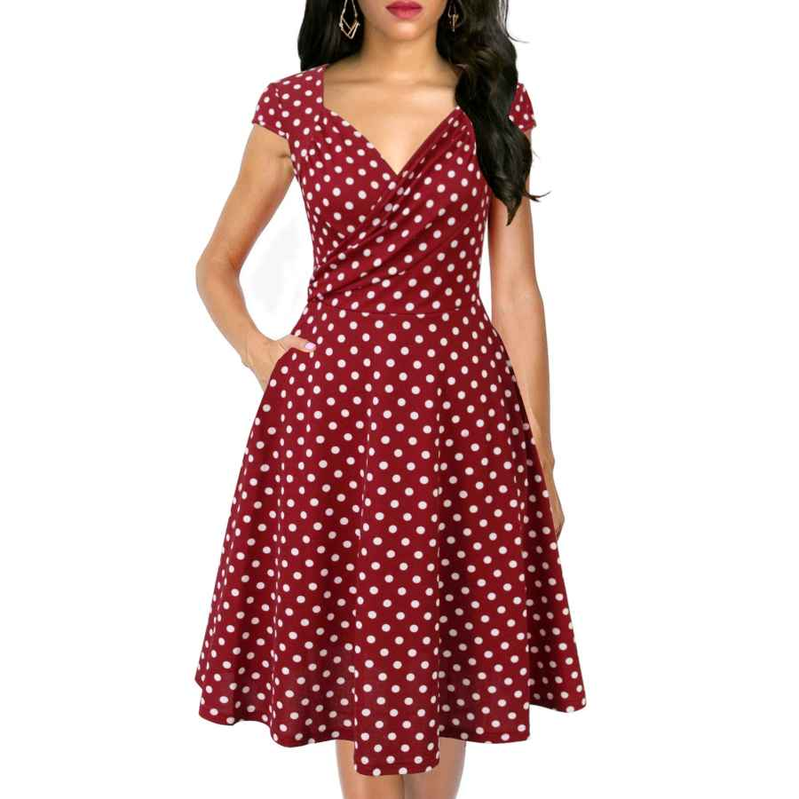 Womens Casual Dresses Lyrur Women's Elegant Ruched V-Neck Flared A-Line Cap Sleeves Swing Casual Party Cocktail Dresses With Pockets