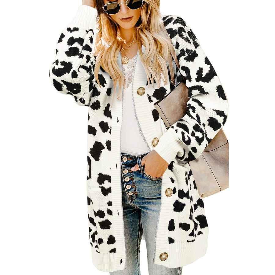 Cardigans Ferbia Women Leopard Cardigan Long Open Front Sweaters Oversized