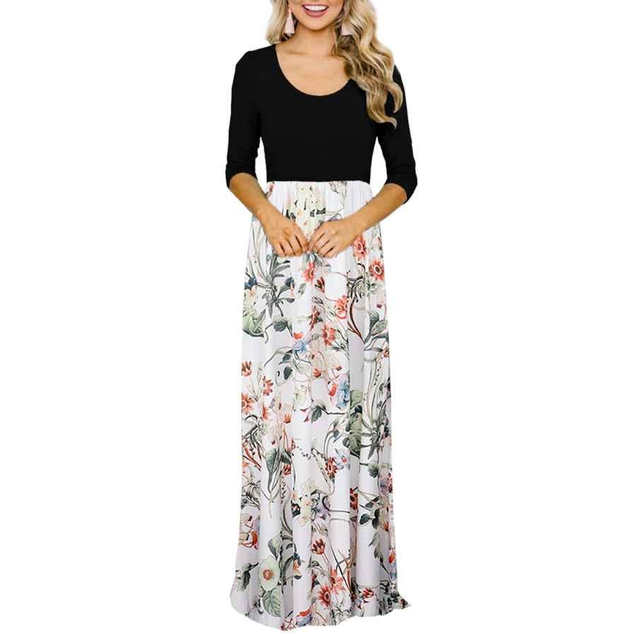 Womens Casual Dresses Dldy Women's Floral Maxi Dress High Waist Long Maxi Dress For Women With Pockets