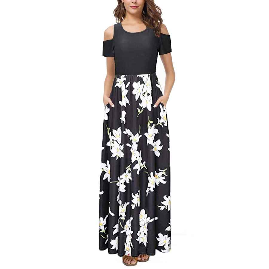 Womens Casual Dresses Kancystore Women's Long/Short Sleeve Floral Maxi Dresses Cold Shoulder Dress With Pockets