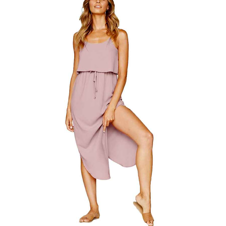 Womens Casual Dresses Yidarton Women's Summer Casual Dress Adjustable Strappy Split Floral Midi Beach Dress