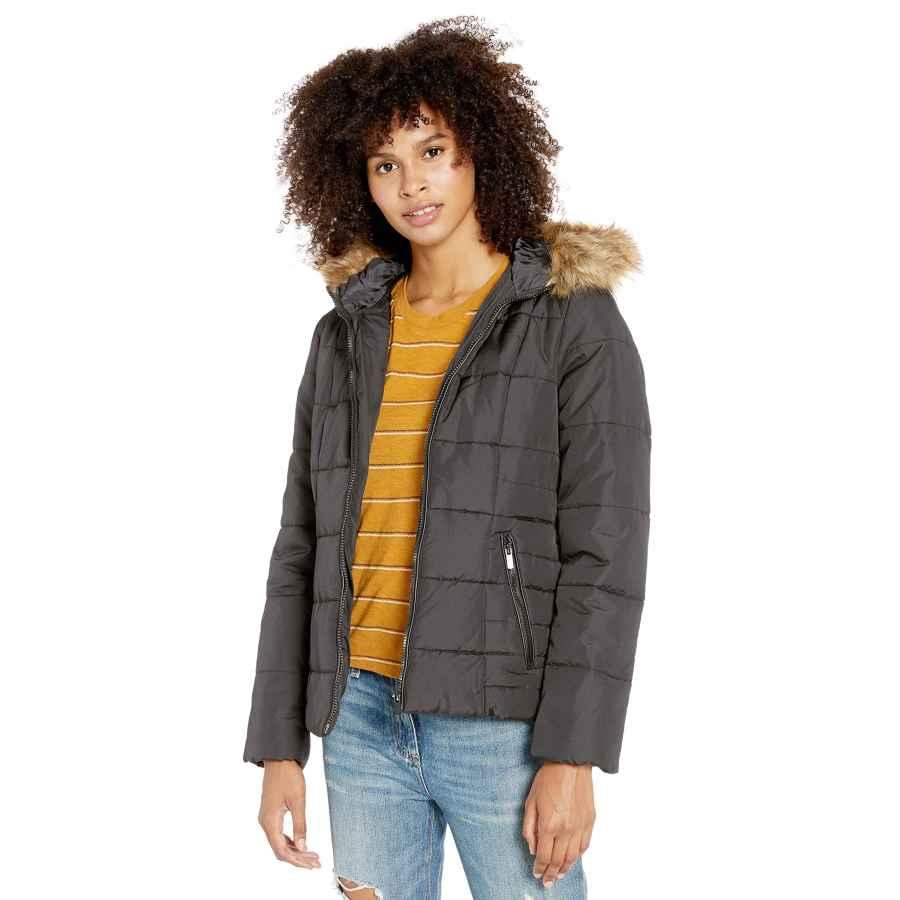 Celebrity Pink Women's Warm Winter Jacket With Faux Trimmed Hood