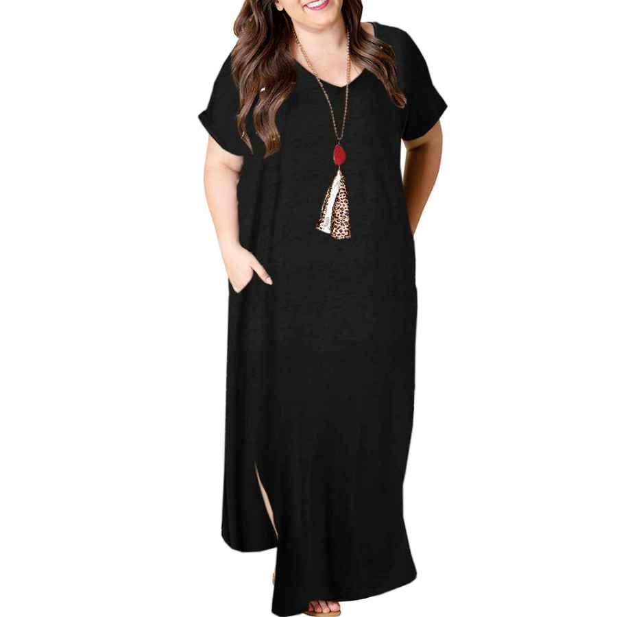 Womens Casual Dresses Tongmingyun Womens Plus Size Maxi Dresses Striped V Neck Short Sleeve T Shirt Casual Summer Long Dress With Pockets