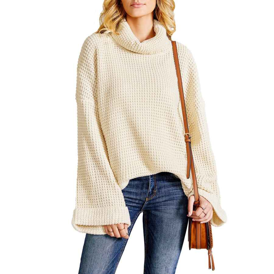 Pullower Ybenlow Womens Turtleneck Oversized Sweaters Batwing Sleeve Chunky Loose