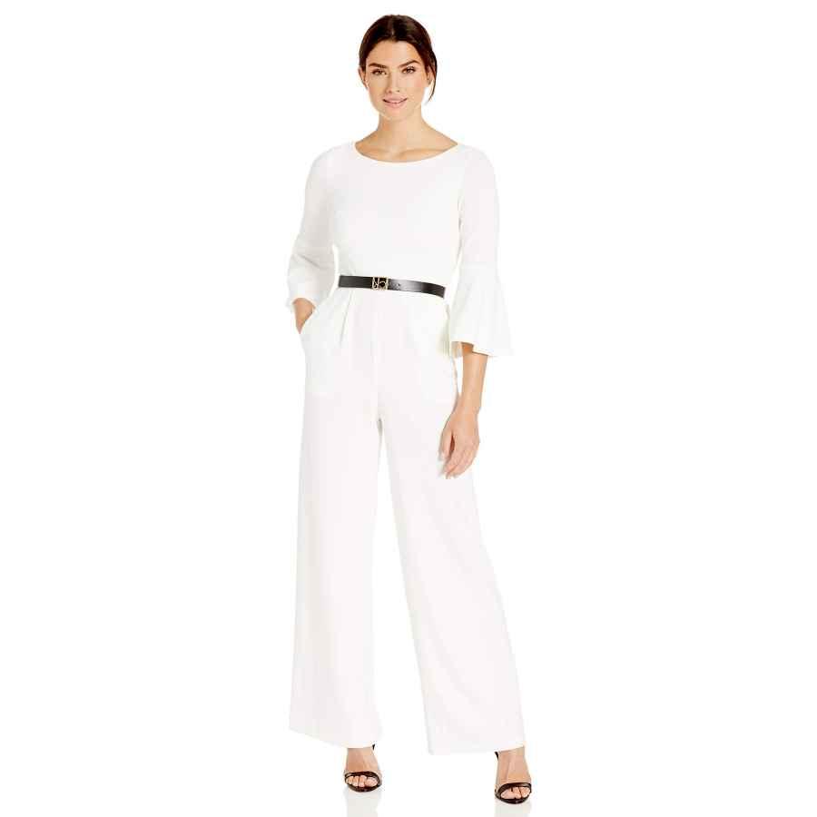 Womens Casual Dresses Calvin Klein Women's Three Quarter Bell Sleeve Belted Jumpsuit