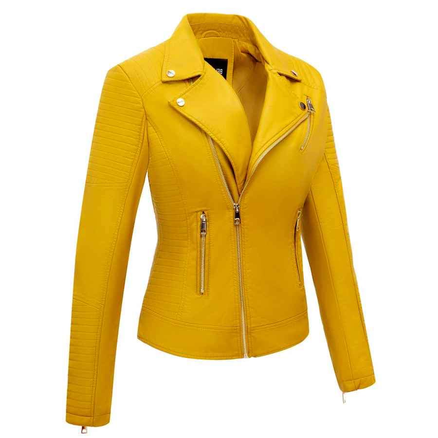 Giolshon Faux Leather Casual Short Jacket For Women