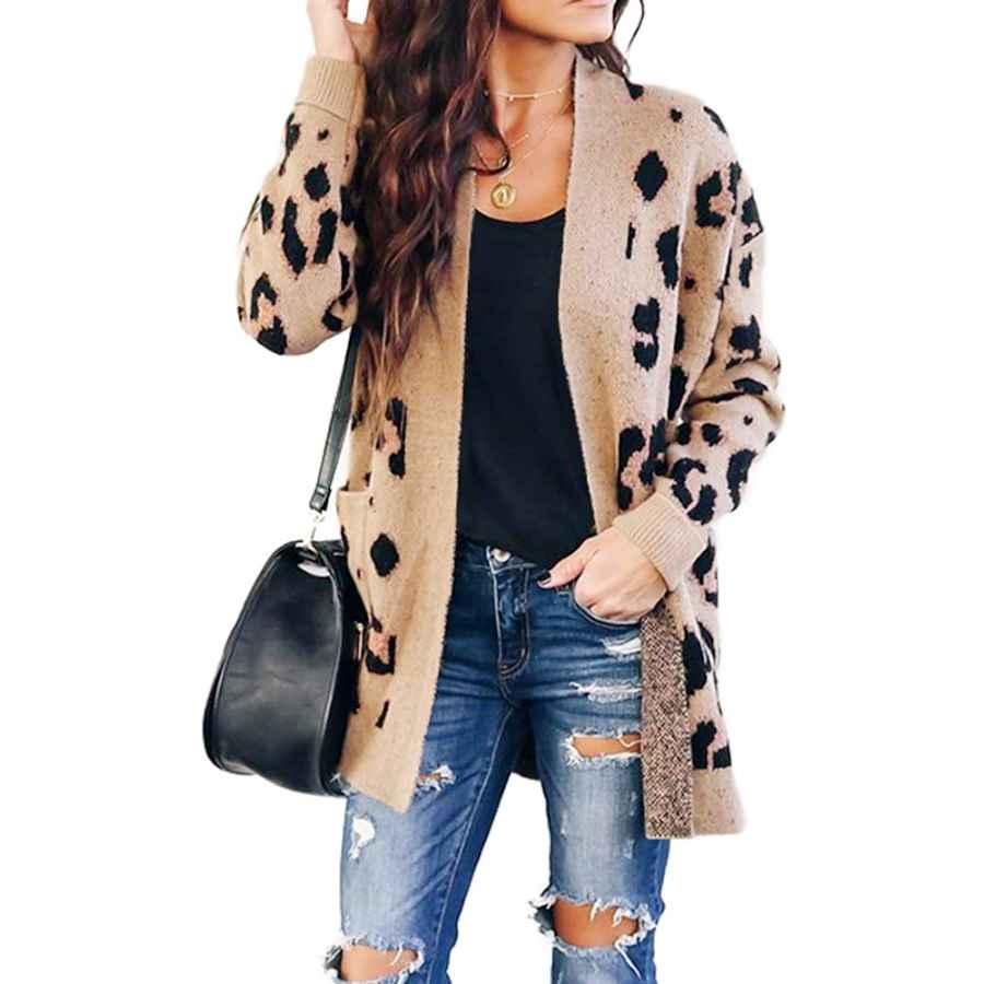 Cardigans Chang Yun Women's Leopard Cardigan Sweaters Open Front Knit