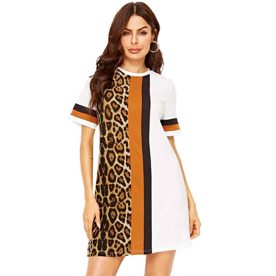 Womens Casual Dresses Floerns Women's Short Sleeve Color Block Leopard Print Tunic Dress