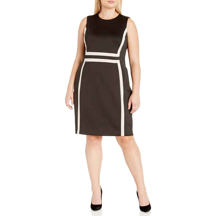 Womens Casual Dresses Calvin Klein Women's Plus Size Sleeveless Color Block Sheath Dress
